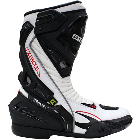 white motorcycle boots richa tracer ce approved leather hipora waterproof track