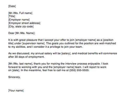 sample job acceptance letter 7 examples in word pdf