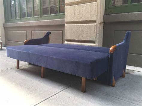 Blue Velvet Sleeper Sofa by 1950s Blue Velvet Sleeper Sofa For Sale At 1stdibs