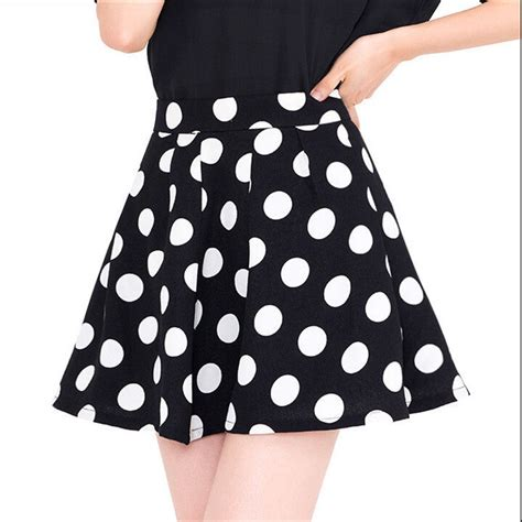 2015 new a line polka dot puff skirts high waist skirt
