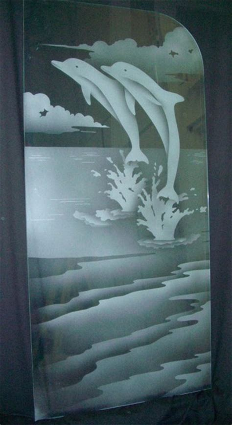 partitions dividers sans soucie art glass leaping dolphins glass shower partition beach style