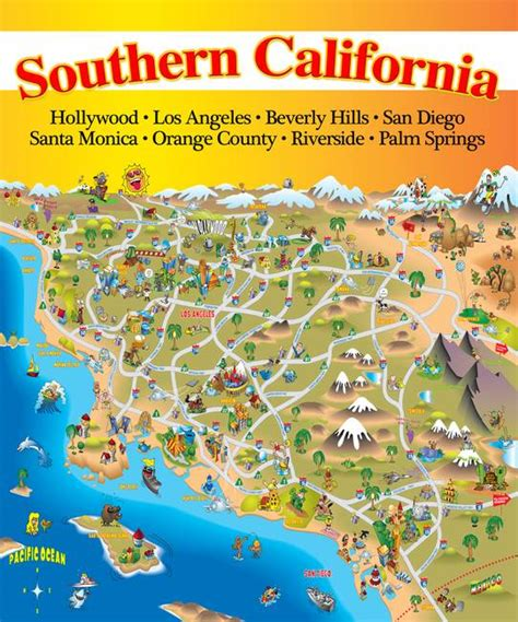 california map destinations maps update 33782498 tourist attractions map in southern