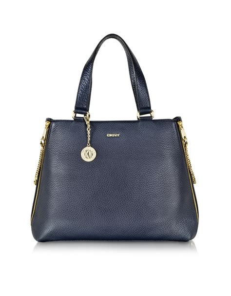 Bag Tote Navy lyst dkny tribeca large navy blue leather tote bag in blue