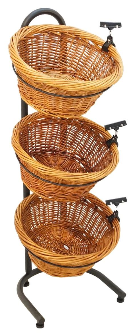 3 tier basket display produce rack vegetable stand w sign