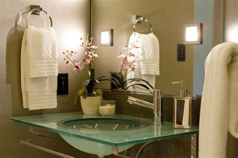 glass top washstand transitional bathroom ambiance interiors