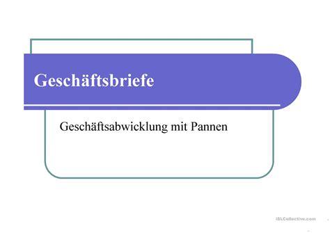 geschaftsbriefe ii arbeitsblatt free esl projectable worksheets made by teachers