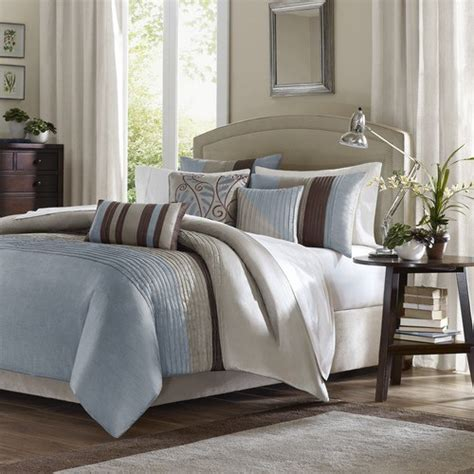 tradewinds 6 piece duvet set in blue modern bedding