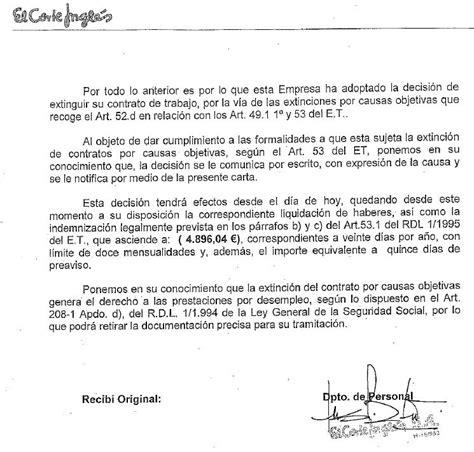 requisitos de la carta de despido por causas organizativas fecoht galicia primeros despidos corte ingl 233 s por