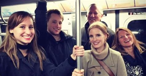 El Moussa jessica chastain rides nyc subway with family blends