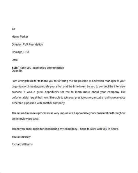 Thank You Letter For Rejection rejection letter 6 free doc
