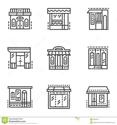 store layout elements storefronts line icons stock photo image of awning