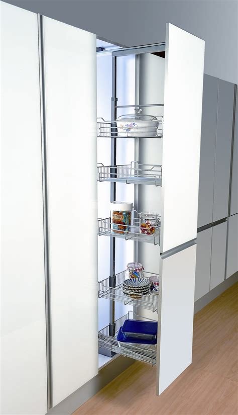 kitchen cabinet shelving racks brown polished oak wood pul out storage oantry with chrome
