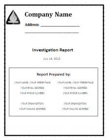 investigation report template word investigation report template free reports