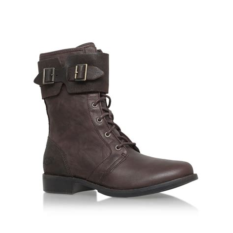 ugg 3aaverik flat buckle detail calf high boots in brown