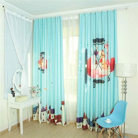 Baby Blue Cartoon Patterned Cotton Kids Room Nursery Curtains Curtains For Baby Nursery