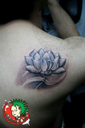 small black and grey tattoos small black grey lotus for back shoulder