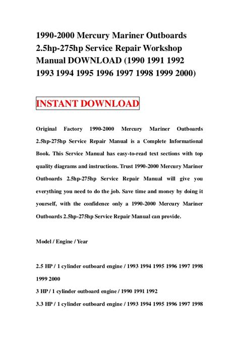 small engine repair manuals free download 1992 pontiac trans sport electronic valve timing 1990 2000 mercury mariner outboards 2 5hp 275hp service repair worksh