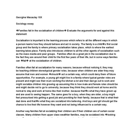 Agents Of Socialization Essay by Agents Of Socialization Family Essay Sle