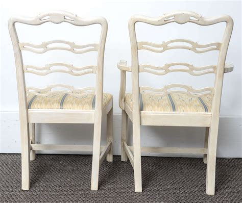 hand painted dining room furniture set of six vintage hand painted ribbon back dining chairs