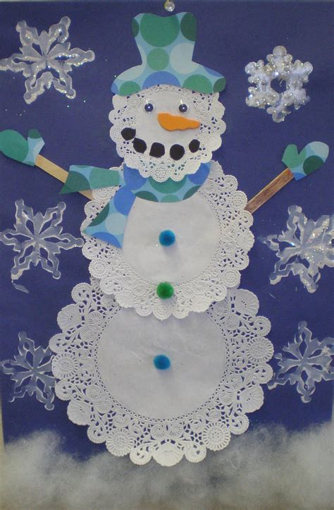 Craft Paper Doilies - learn to teach teach to learn doily snowmen grade 2
