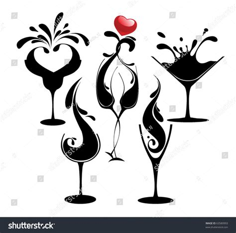 cocktail party silhouette set cocktail silhouette glasses stock vector 63580993