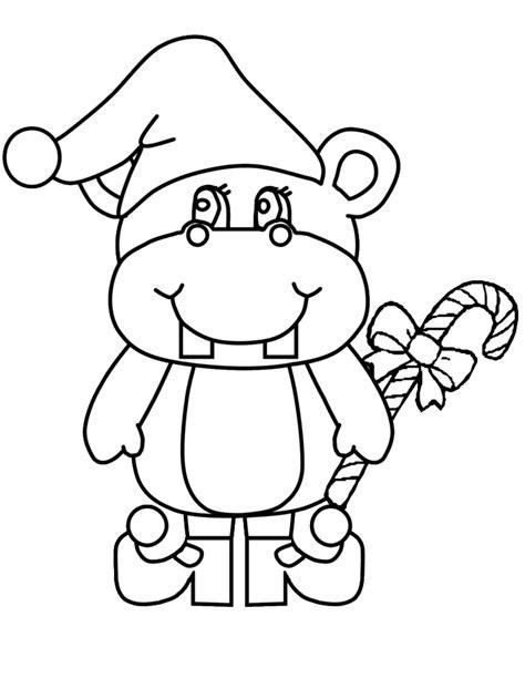 Christmas Hippo Coloring Page   hippo christmas coloring pages coloring book