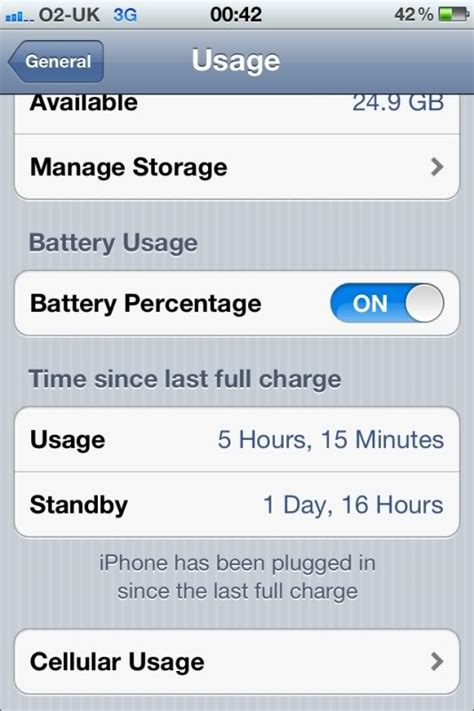 resetting battery usage iphone iphone 4s ios5 battery life and standby usage stats