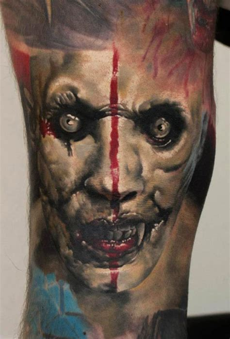 scary face tattoo designs 3d scary design by denis sivak
