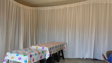 Covering A Wall With Curtains Ideas I Decorated The Garage For A Birthday But It Was Practice For The Wedding Total Cost Of