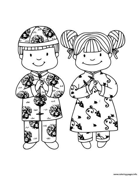 chinese  year girl boy traditional coloring pages printable
