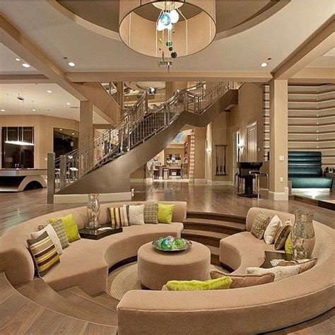 beautiful modern mansion interior beige brown and green color scheme sunken living room