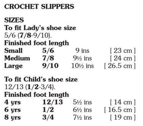 crochet slipper size chart crochet slipper size chart 28 images 1000 ideas about