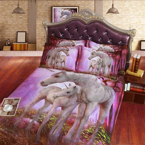 Horse Comforter Twin Comforter Sets Beautiful 3d Mother And Baby Unicorn