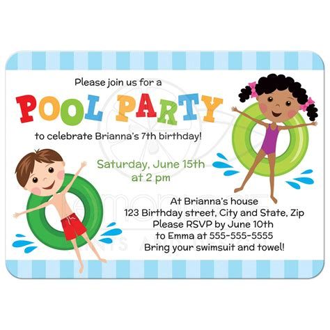 birthday pool party invitations birthday pool party invitations for