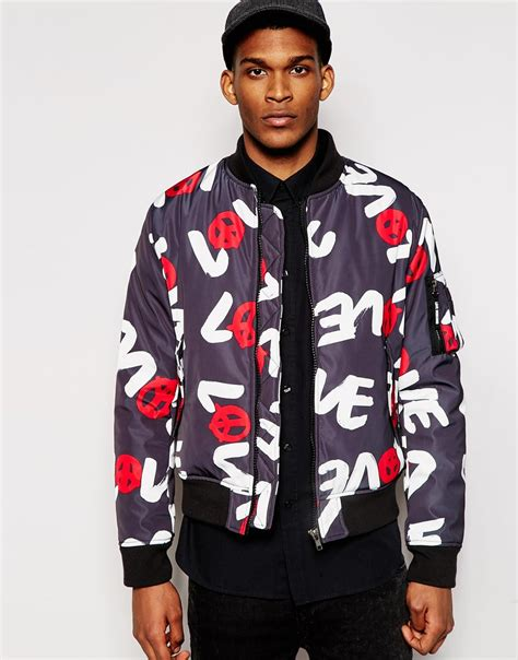 Jaket Moschino Import 1 moschino print bomber jacket in black for lyst