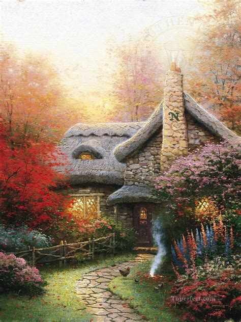cottage kinkade autumn at cottage kinkade painting in