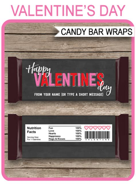 valentines day candy bar wrappers personalized