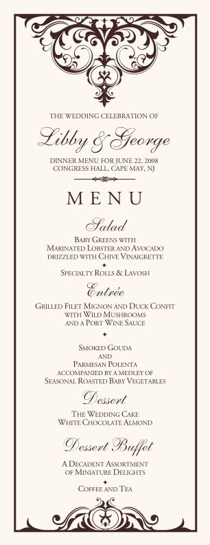 menu cards template wedding reception wedding menu design ideas