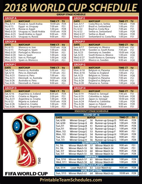 fifa world cup schedule 2018 world cup soccer tv schedule central time