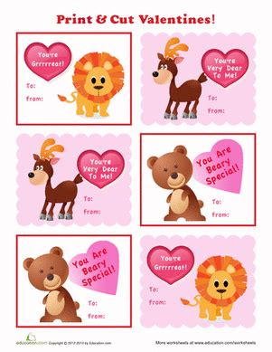 printable animal valentines day cards animal valentines worksheet education com