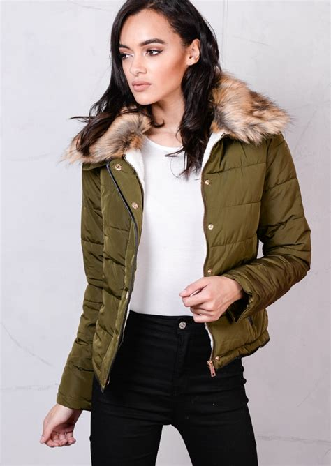 faux fur collar padded coat brown faux fur collar quilted fleece padded puffer jacket