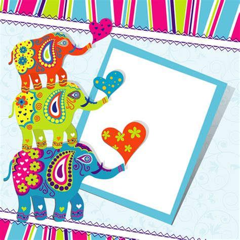 happy birthday background design vector floral elephants with happy birthday background vector 05