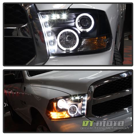 Dr09 White Limited black 2009 2017 dodge ram led halo projector headlights