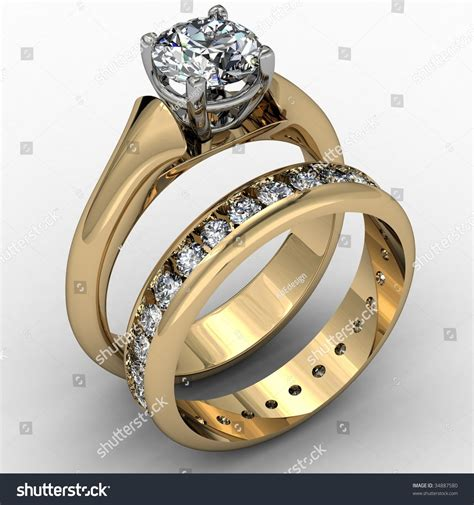 Two Tone Set two tone wedding ring set stock illustration
