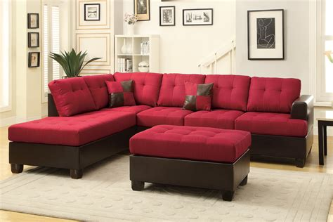 Leather Sectional And Ottoman by Poundex Moss F7601 Leather Sectional Sofa And Ottoman