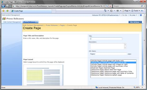 sharepoint page layout add javascript preselecting page layout in the create page screen