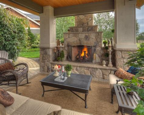Houzz Covered Patios With Fireplaces Design Ideas Outdoor Fireplace Decor