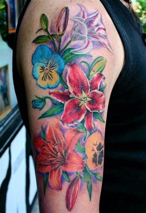 pansy flower tattoo flowers by mirek vel stotker lilies pansy flowers
