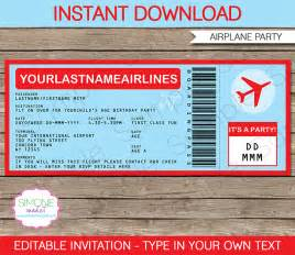 Airline Ticket Template Invitation by Airplane Ticket Invitations Template Airplane