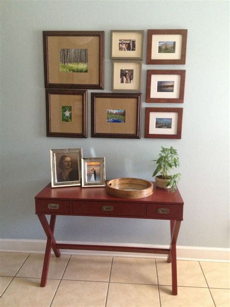 front hallway valspar paint in quot inhale quot and threshold caign desk in salsa for the
